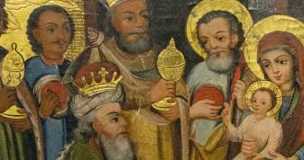 """Фрагмент ікони XVIII ст. """"Поклоніння волхвів"""" Острозької іконописної майстерні. Експонується в Краєзнавчому музеї ДІКЗ м. Острога."""