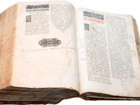 Острозька Біблія – перше повне видання всіх книг Св. Письма церковнослов'янською мовою, здійснене в Острозі 1581 року заходами князя Костянтина Острозького