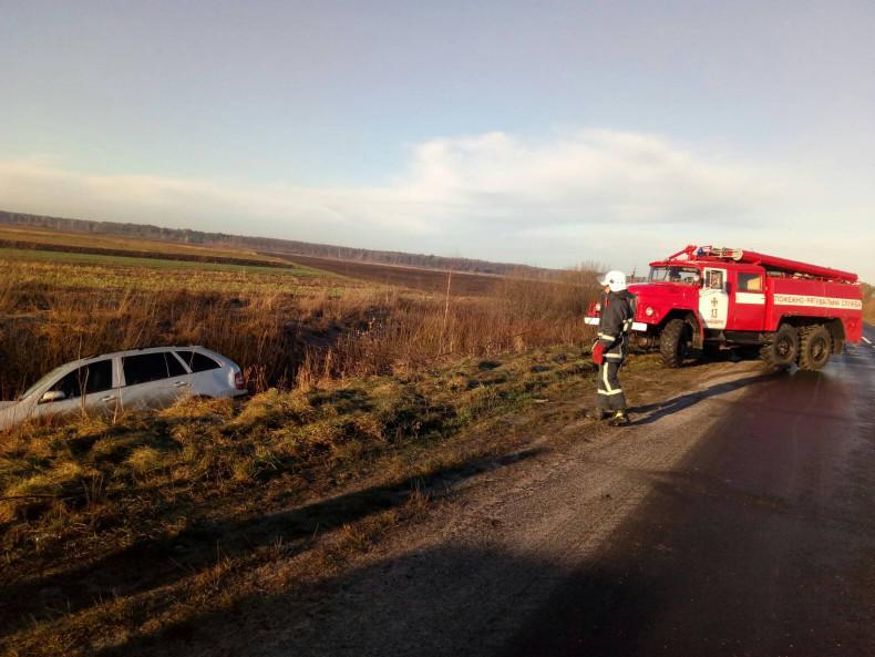 Поблизу Великої Яблуньки рятувальники витягнули водія з кювету