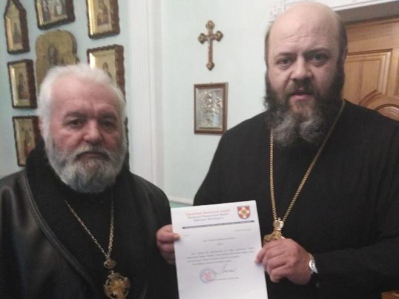 Дмитро Фенюк з митрополитом Михаїлом в управлінні Волинської єпархії ПЦУ