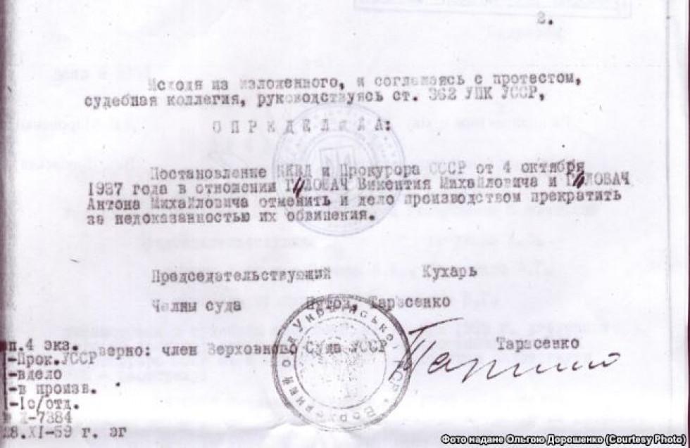 Довідка про реабілітацію Антона та Вікентія Ґловача