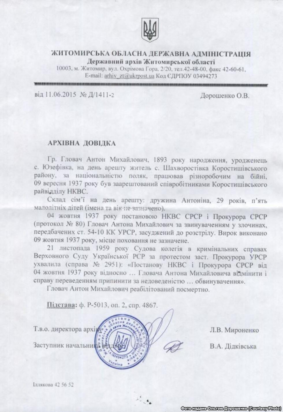 Архівна довідка Державного архіву Житомирської області щодо справи Антона Ґловача