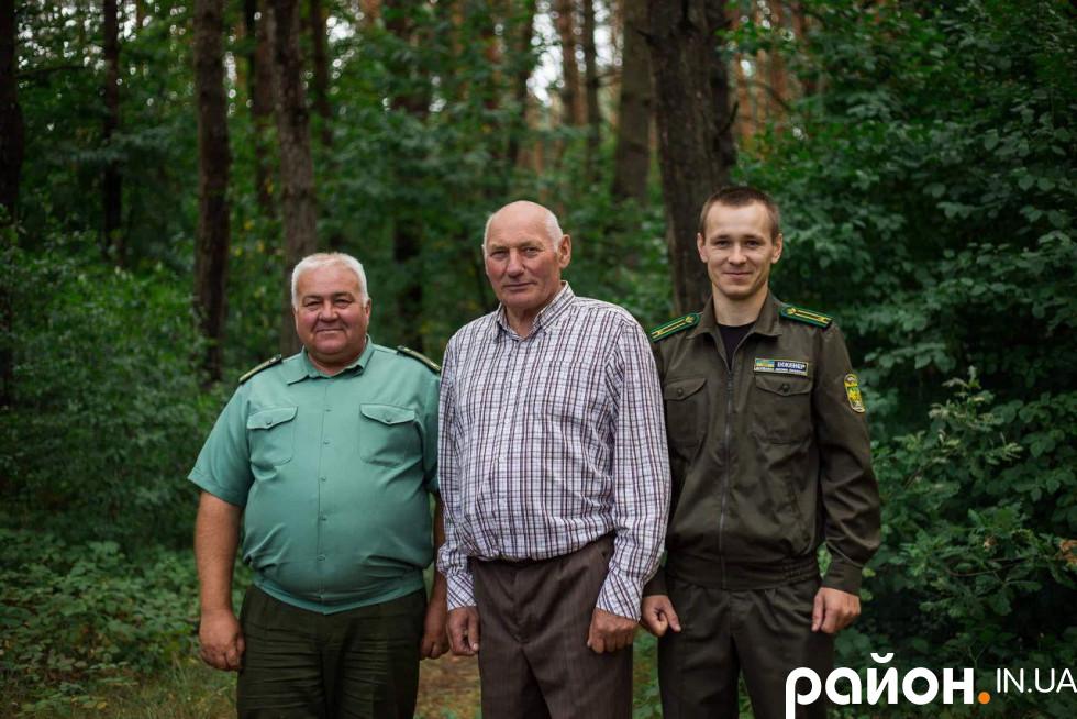 Три покоління лісівників: Алім Омелянчук, Віталій Погребський, Роман Бондарук